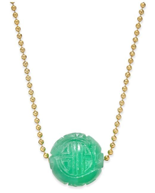 Macy's   Metallic Jade Carved Ball Beaded Pendant Necklace (12mm) In Sterling Silver   Lyst
