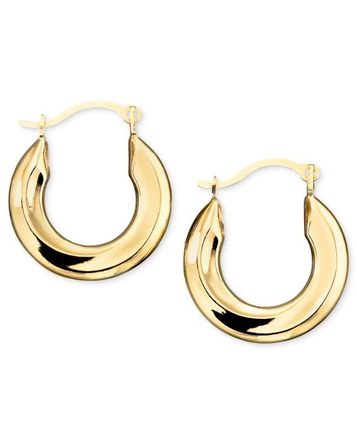Macy's - Metallic Small Polished Tube Hoop Earrings In 10k Gold - Lyst