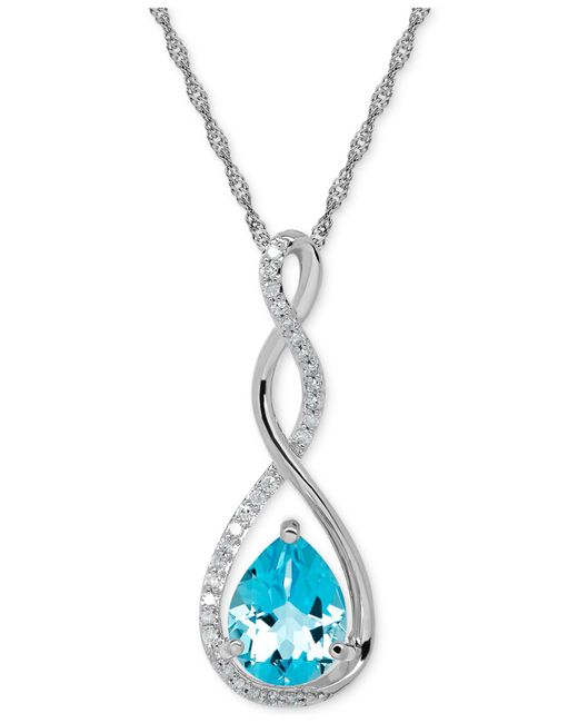 Macy's - Metallic Birthstone And Diamond (1/10 Ct. T.w.) Pendant Necklace In 14k White Or Yellow Gold - Lyst