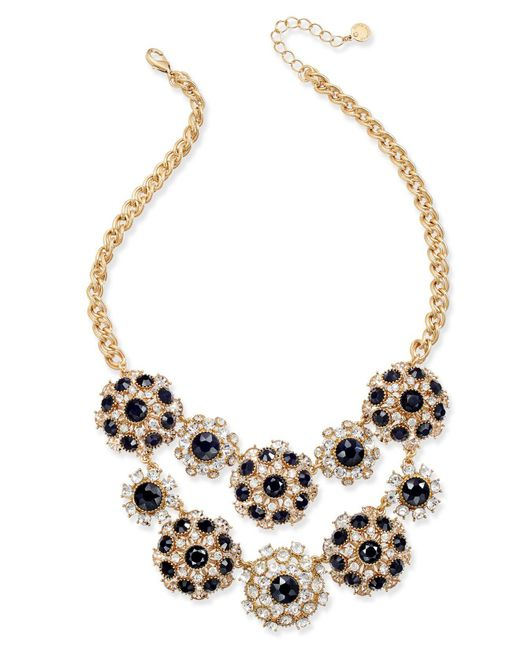 Charter Club - Metallic Gold-tone Clear & Jet Crystal Statement Necklace - Lyst