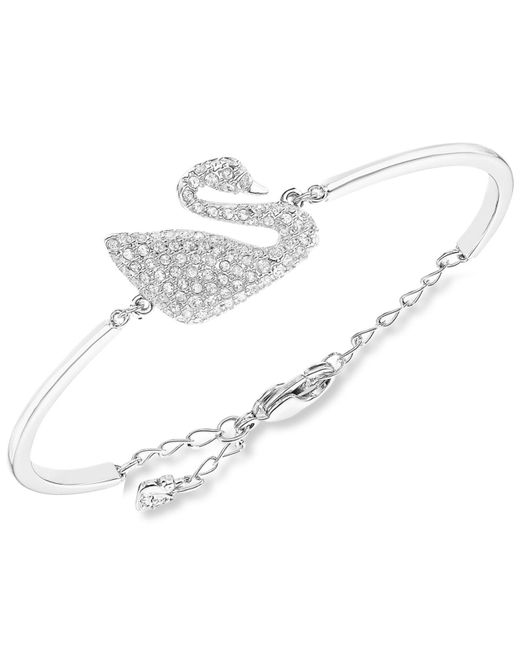 Swarovski - Metallic Rhodium-plated Crystal Swan Bangle Bracelet - Lyst