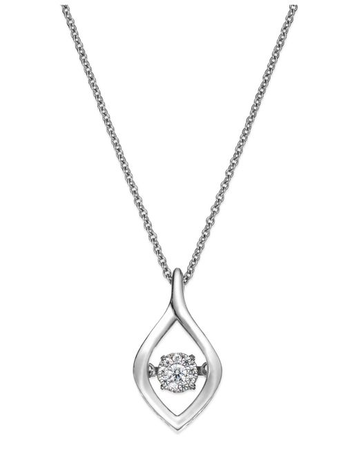 Twinkling Diamond Star - White Diamond Accent Open Teardrop Pendant Necklace In Sterling Silver - Lyst