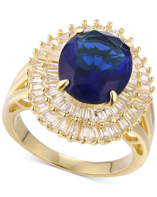 Macy's - Metallic Simulated Sapphire & Cubic Zirconia Double Halo Ring In Sterling Silver - Lyst