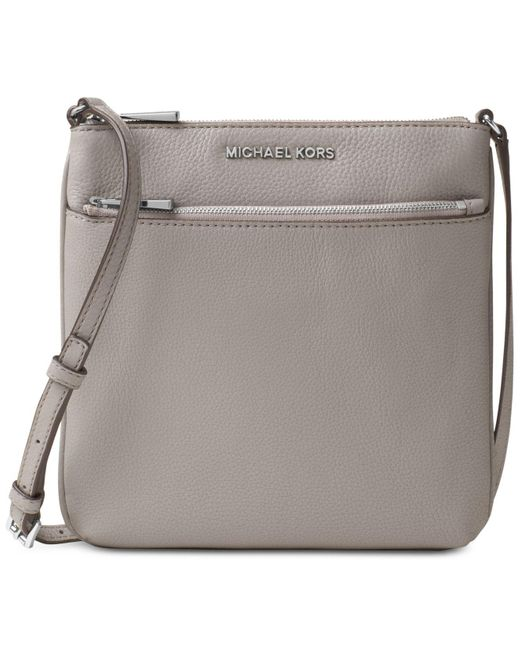 Michael Kors Gray Michael Riley Pebble Leather Crossbody