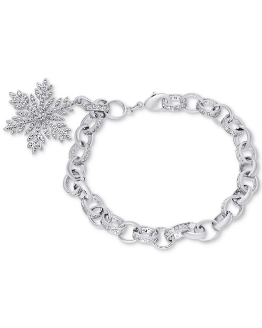Macy's - Metallic Diamond Accent Snowflake Charm Bracelet In Silver-plate - Lyst