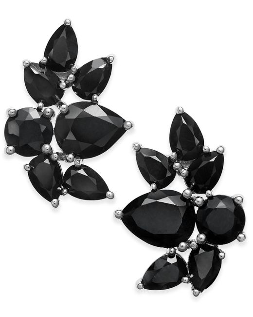 Macy's | Metallic Black Sapphire Fancy Stud Earrings (10 Ct. T.w.) In Sterling Silver | Lyst