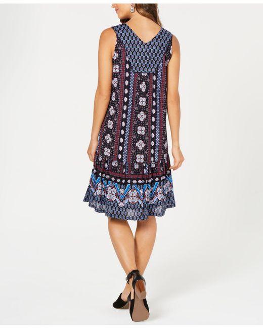 c609ed0cdb2 Style   Co. Women s Blue Petite Geo-print Flounce Dress ...