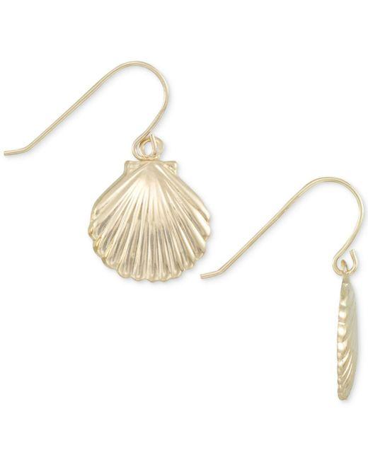 Macy's - Metallic Shell Drop Earrings In 10k Gold - Lyst