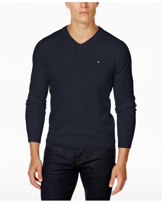Tommy Hilfiger - Blue Signature Solid V-neck Sweater, Created For Macy's for Men - Lyst