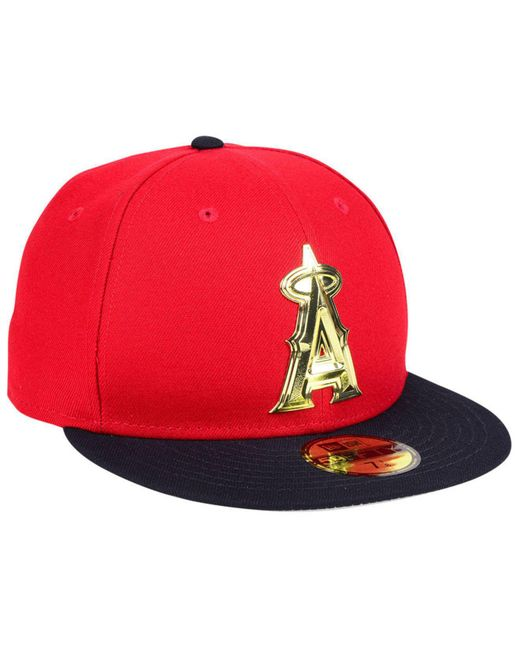 newest 98fde 38a82 ... best price ktz red los angeles angels golden finish 59fifty fitted cap  for men lyst bb7be