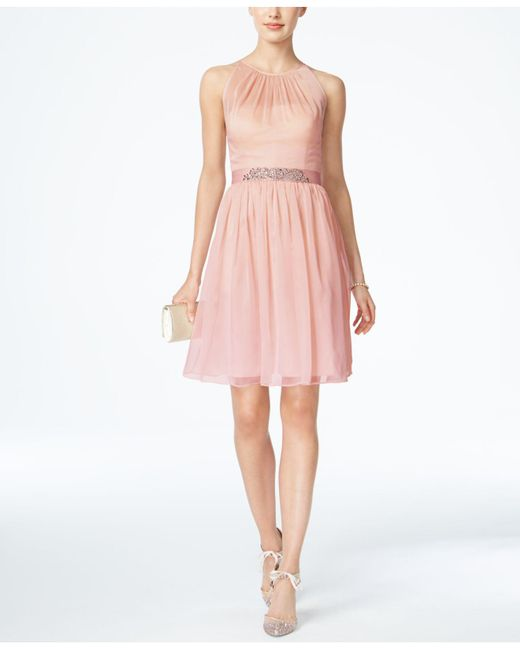 Adrianna Papell - Pink Belted Chiffon Halter Dress - Lyst