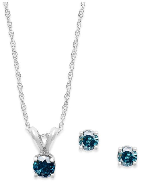 Macy's 10k White Gold Blue Diamond Necklace And Earring Set (1/5 Ct. T.w.)