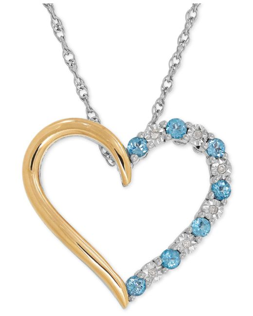 Macy's - Blue Topaz (1/3 Ct. T.w.) And Diamond Accent Heart Pendant Necklace In Sterling Silver And 14k Gold - Lyst