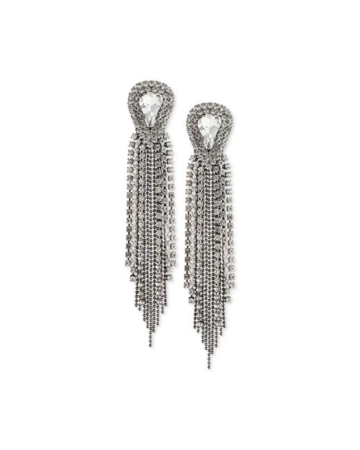 ABS By Allen Schwartz | Metallic Two-tone Crystal & Ball Chain Fringe Drop Earrings | Lyst
