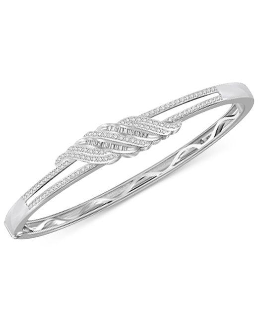 Macy's - Metallic Diamond Twist Bangle Bracelet (1 Ct. T.w.) In Sterling Silver - Lyst