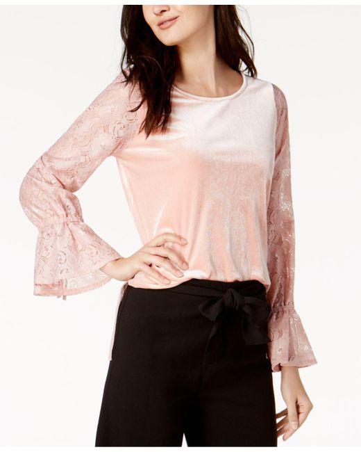 Kensie | Pink Lace-sleeve Velvet Top | Lyst