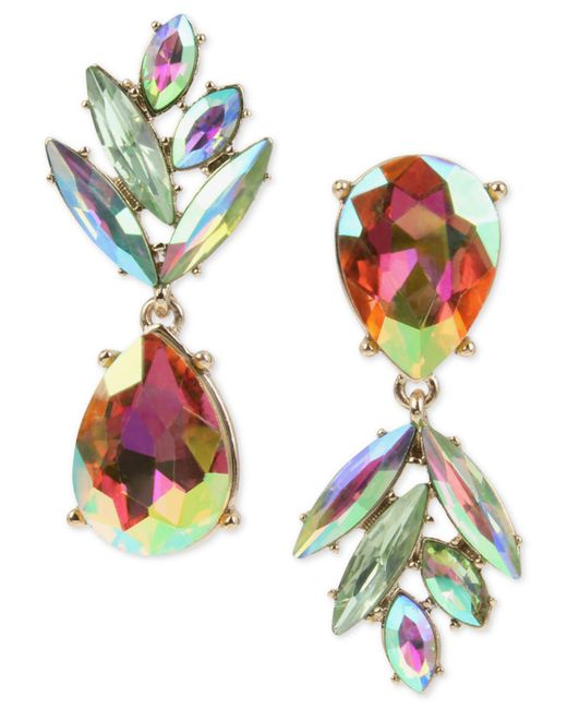 Betsey Johnson | Multicolor Gold-tone Clear & Colored Crystal Pineapple Mismatch Drop Earrings | Lyst