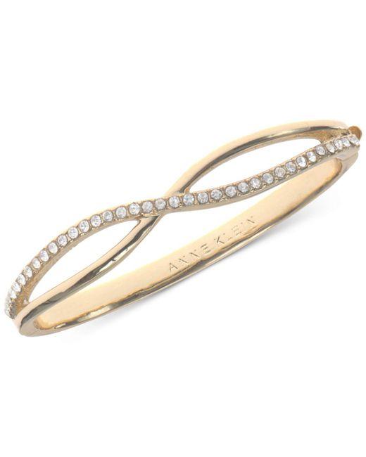Anne Klein - Metallic Gold-tone Crystal Crisscross Bangle Bracelet - Lyst