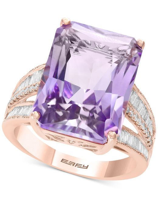 Effy Collection - Effy® Pink Amethyst (15-1/2 Ct. T.w.) & Diamond (3/8 Ct. T.w.) In 14k Rose Gold - Lyst
