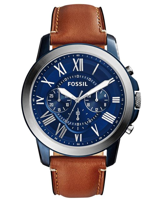 Fossil - Blue Men's Chronograph Grant Light Brown Leather Strap Watch 44mm Fs5151 for Men - Lyst