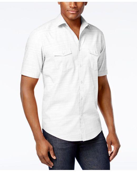 Alfani   Black Warren Solid Textured Shirt for Men   Lyst