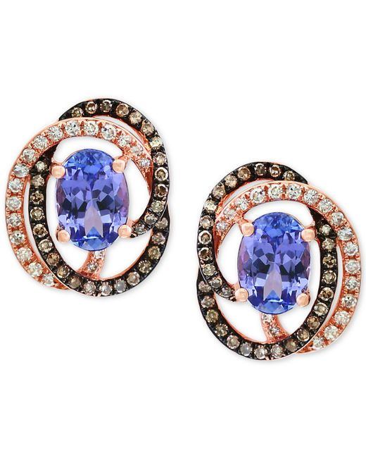 Effy Collection - Blue Tanzanite (1-1/3 Ct. T.w.) And Diamond (1/3 Ct. T.w.) Stud Earrings In 14k Rose Gold - Lyst