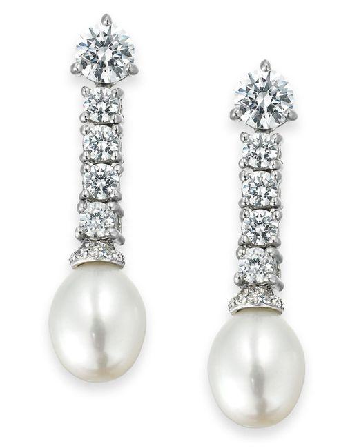 Arabella | Metallic Cultured Freshwater Pearl (8mm) And Swarovski Zirconia (3-5/8 Ct. T.w.) Drop Earrings In Sterling Silver | Lyst