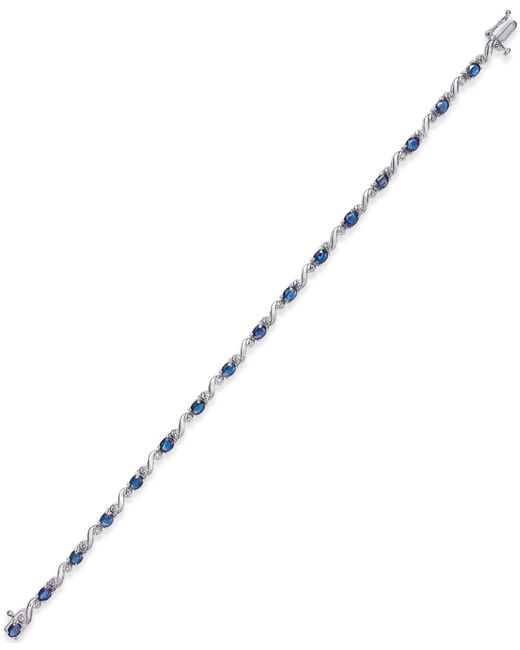 Macy's   Metallic Sapphire (3-1/4 Ct. T.w.) And Diamond Accent Bracelet In 14k White Gold   Lyst