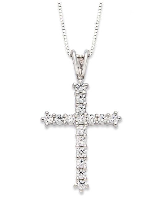 Macy's - Diamond Cross Pendant Necklace In 14k White Gold (1/2 Ct. T.w.) - Lyst