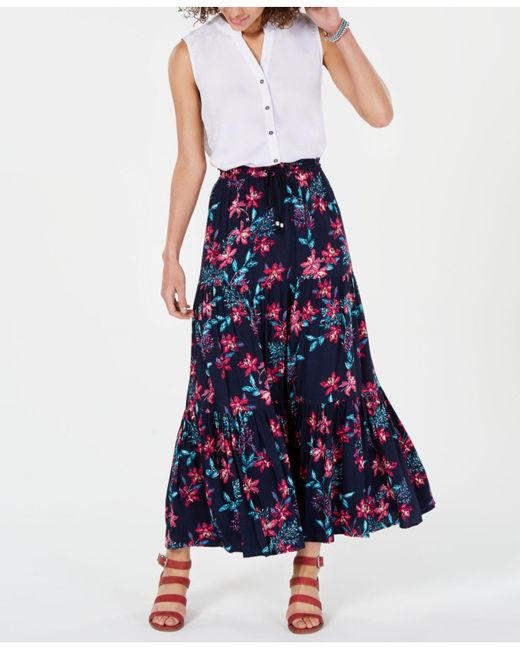 Style & Co. Blue Cotton Floral-print Tiered Skirt, Created For Macy's