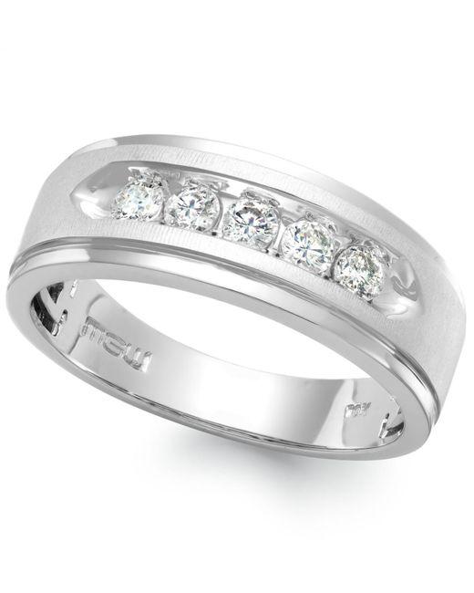 Macy's - Men's Five-stone Diamond Ring In 10k White Gold (1/2 Ct. T.w.) for Men - Lyst