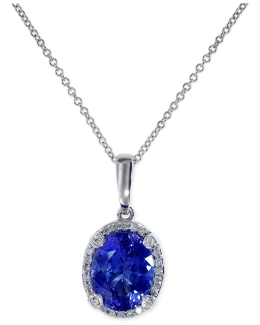 Effy Collection - Blue Tanzanite (2-5/8 Ct. T.w.) And Diamond (1/8 Ct. T.w.) Pendant Necklace In 14k White Gold - Lyst