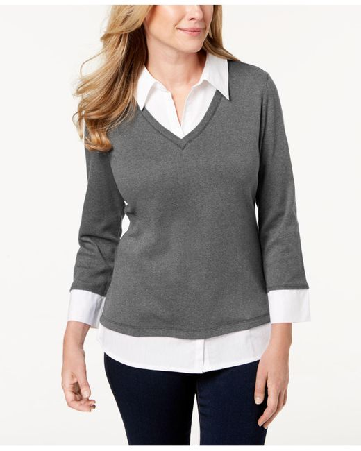Karen Scott - Gray Cotton Layered-look Top, Created For Macy's - Lyst