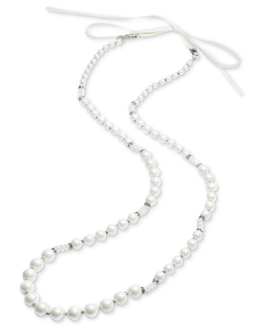 Carolee | Silver-tone Pavé Bead, Imitation Pearl & White Ribbon Convertible Strand Necklace | Lyst