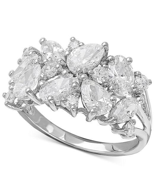 Arabella Metallic Swarovski Zirconia Cluster Ring In Sterling Silver