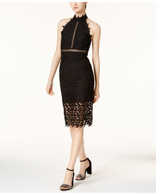 Bardot - Black Gemma Lace Illusion Halter Dress - Lyst