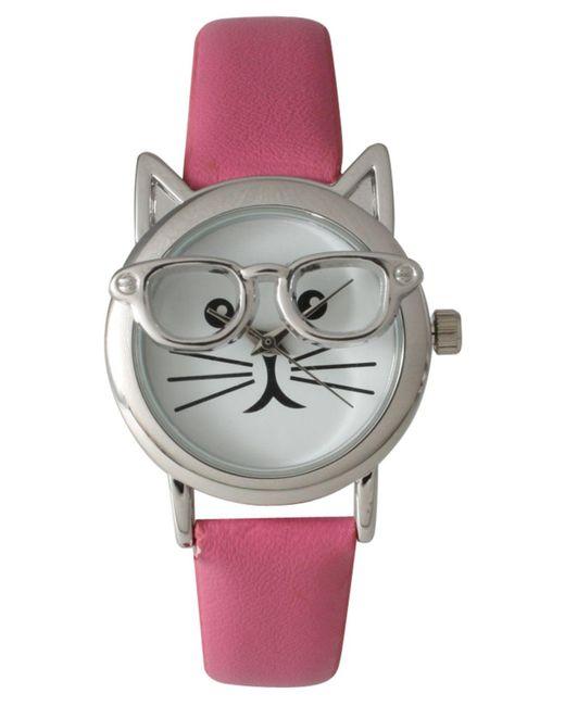 Olivia Pratt - Pink Geeky Cat Leather Strap Watch - Lyst