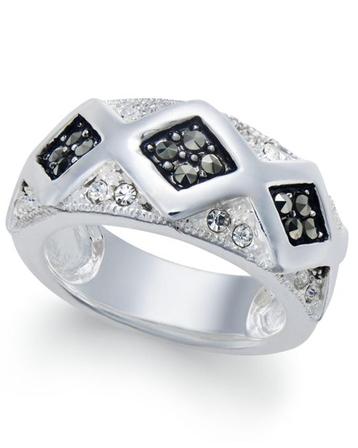 Macy's   Metallic Marcasite & Crystal Geometric Ring In Silver-plate   Lyst