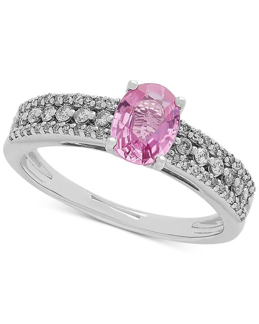 Macy's - Pink Sapphire (1 Ct. T.w.) & Diamond (1/4 Ct. T.w.) Ring In 10k White Gold - Lyst