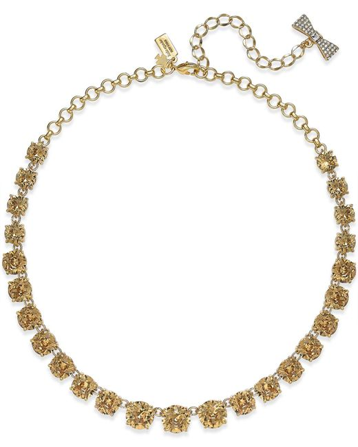 Kate Spade | Metallic 12k Gold-plated Pink Crystal Necklace | Lyst