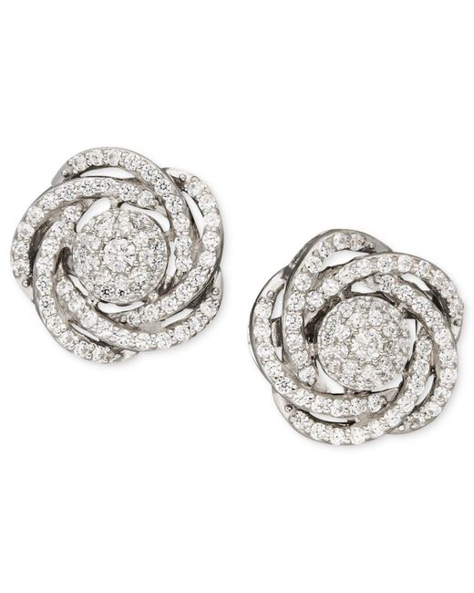 Wrapped in Love - Metallic Diamond Earrings, 14k White Gold Diamond Pave Knot Earrings (1 Ct. T.w.) - Lyst