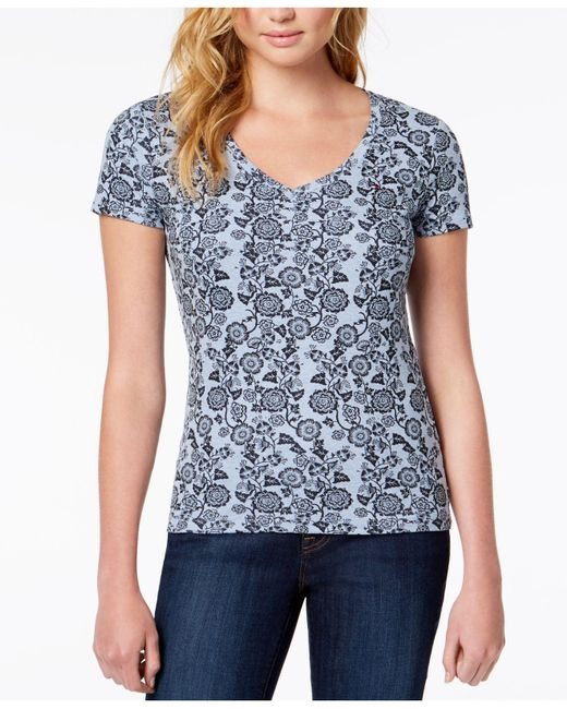 Tommy Hilfiger - Blue Cotton Stencilled V-neck T-shirt, Created For Macy's - Lyst