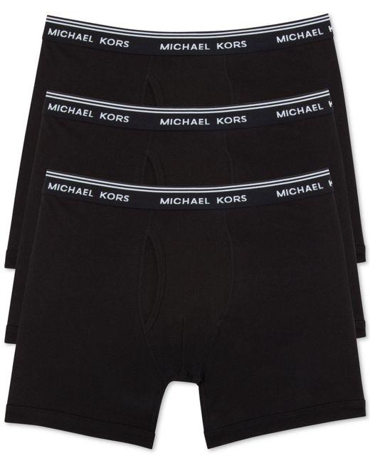 Michael Kors | Black Men's Essentials Cotton Boxer Briefs, 3-pack for Men | Lyst