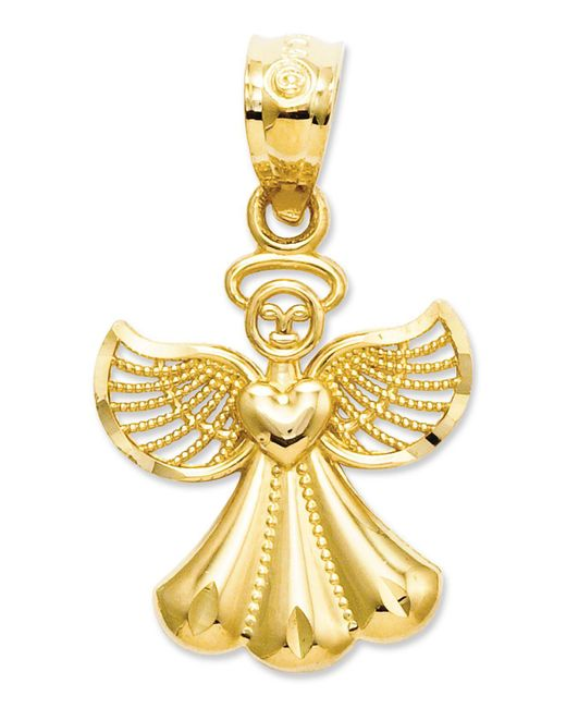 Macy's - Metallic 14k Gold Charm, Polished Angel Charm - Lyst
