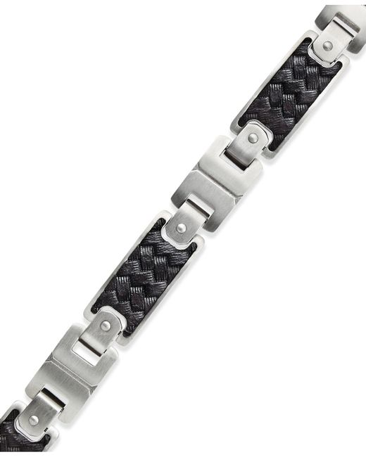 Macy's - Men's Black Leather And Stainless Steel Link Bracelet - Lyst
