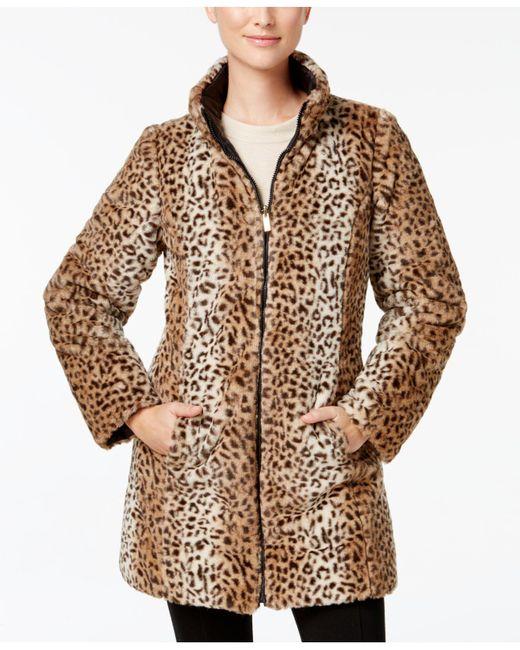 Jones New York | Black Reversible Faux-fur Coat | Lyst