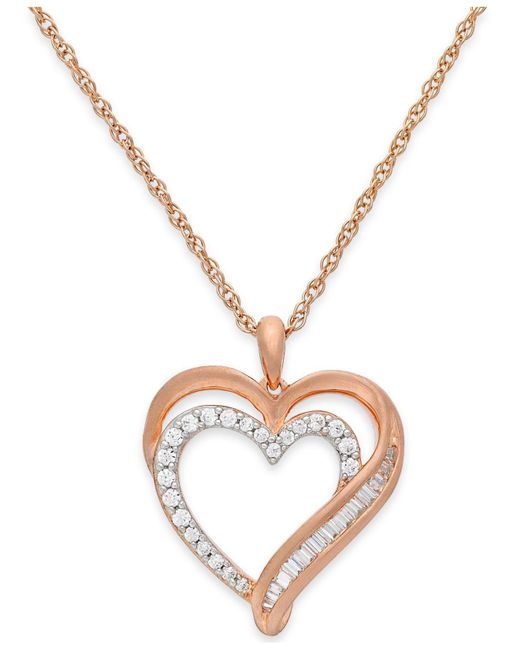 Macy's | Pink Diamond Heart Pendant Necklace In 10k Rose Gold (1/10 Ct. T.w.) | Lyst
