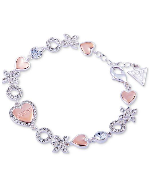 Guess - Multicolor Two-tone Crystal, Xo & Heart Bracelet - Lyst
