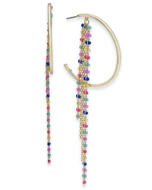 """INC International Concepts - Metallic I.n.c. Extra Large 4"""" Gold-tone Multicolor Bead Fringe Hoop Earrings, Created For Macy's - Lyst"""