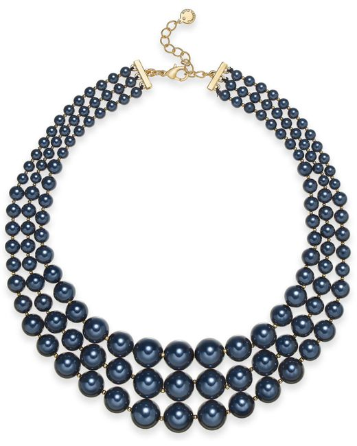 "Charter Club - Multicolor Gold-tone Graduated Imitation Navy Pearl Triple-row Statement Necklace, 18"" + 2"" Extender, Created For Macy's - Lyst"